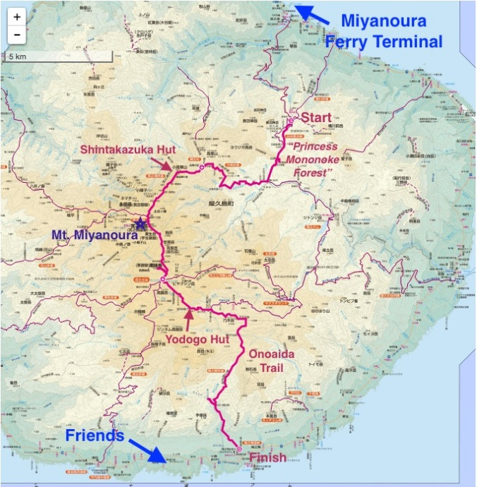 Yakushima Hike Map