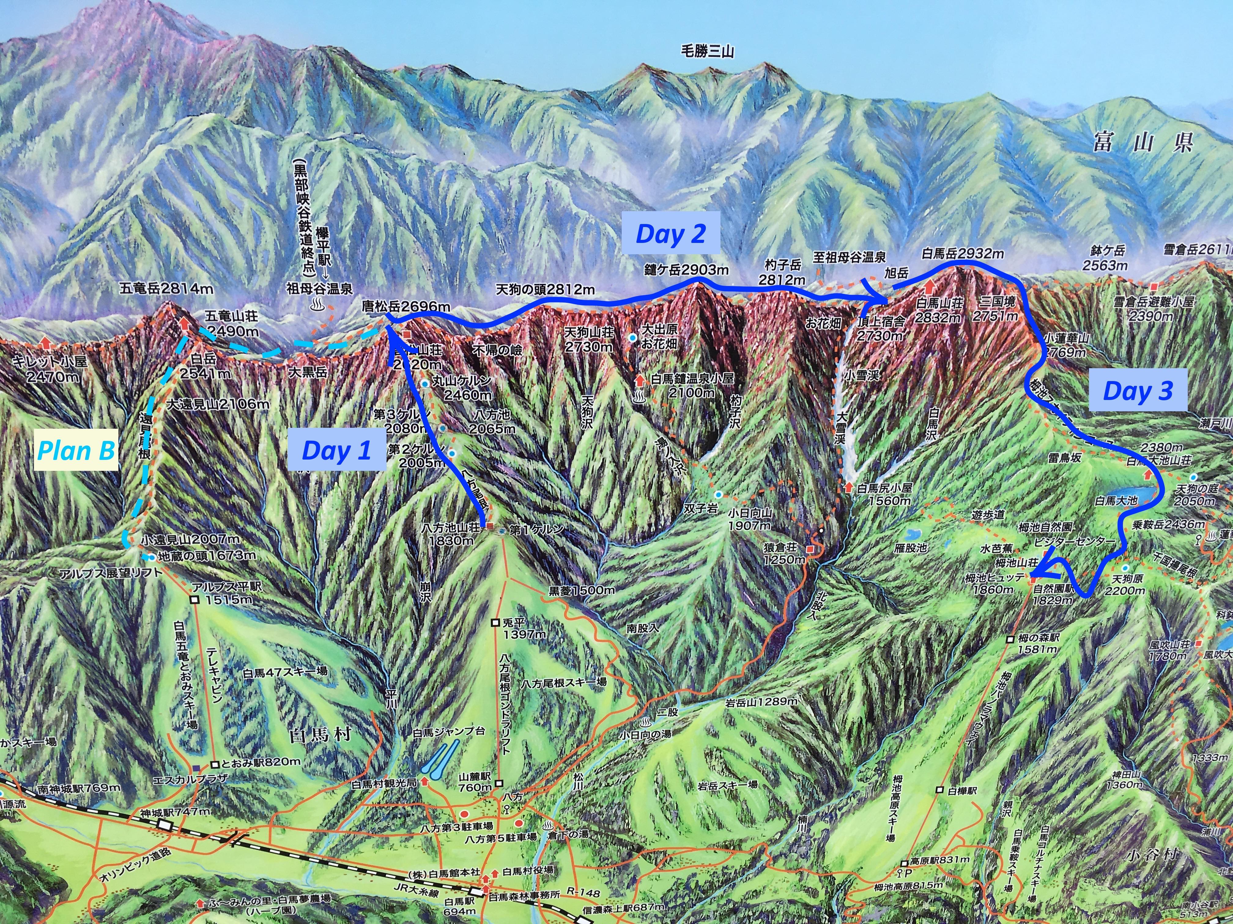 Hakuba hike map