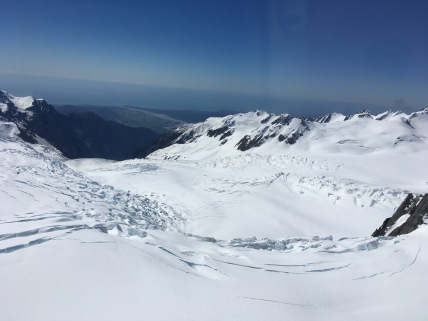Flying across to Franz Josef Glacier