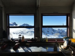 View from inside Centennial Hut