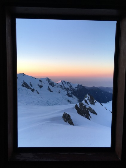 A loo with a view: sunset from the Centennial Hut drop toilet